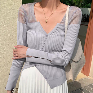 Blusa elegante de punto de manga larga para mujer 2020 verano elegante cuello pico asimétrico pulóver camiseta transparente camisetas atractivas