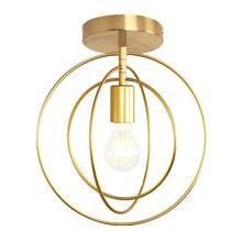 الإبداعية الخماسي الحديد الرياح الصناعية ضوء السقف الرجعية دائرة E27 أسود/الشمبانيا الذهب مصباح لمطعم بار مقهى