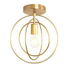 Créatif pentagramme fer industriel vent plafonnier rétro cercle E27 noir/Champagne or lampe pour Restaurant Bar café