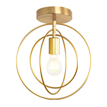 Creative Pentagram Iron Industrial Wind Ceiling Light Retro Circle E27 Black/Champagne Gold Lamp For Restaurant Bar Coffee Shop