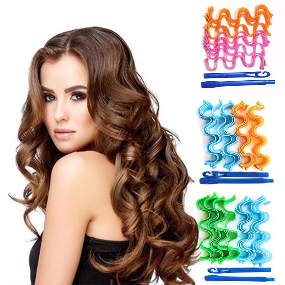 12Pcs Hair Curlers Rollers Mini Women Magic DIY Plastic Magic Long Hair Curlers No Heat Hairstyling Tools Hair Curlers Rollers