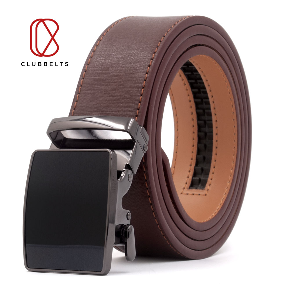 Clubbelts Men's Leather Ratchet Belt With Exquisite Automatic Buckle Genuine Leather Belts For Men