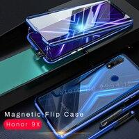Caso magnético da aleta em honra 9x vidro temperado de dupla face metal pára-choques casos para huawei honor 9 x stk-lx1 honor9x premium capa