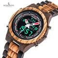 BOBO BIRD мужские часы Relogio Masculino деревянные наручные часы светодиодный двойной дисплей Автоматическая Дата светящиеся стрелки