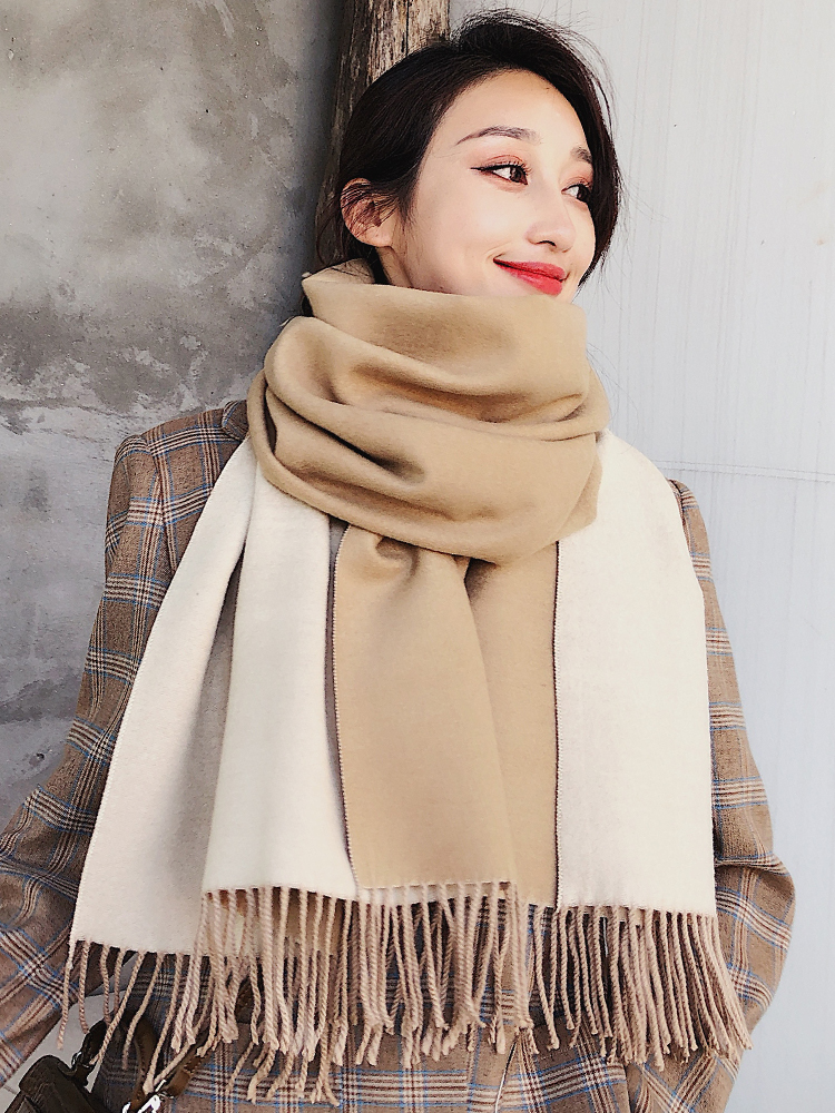 Brand New Scarf  Winter Women Korean Versatile Double-sided Shawl Winter Student Thickened Warm Neck LUXURY Long Scarves Gitfs