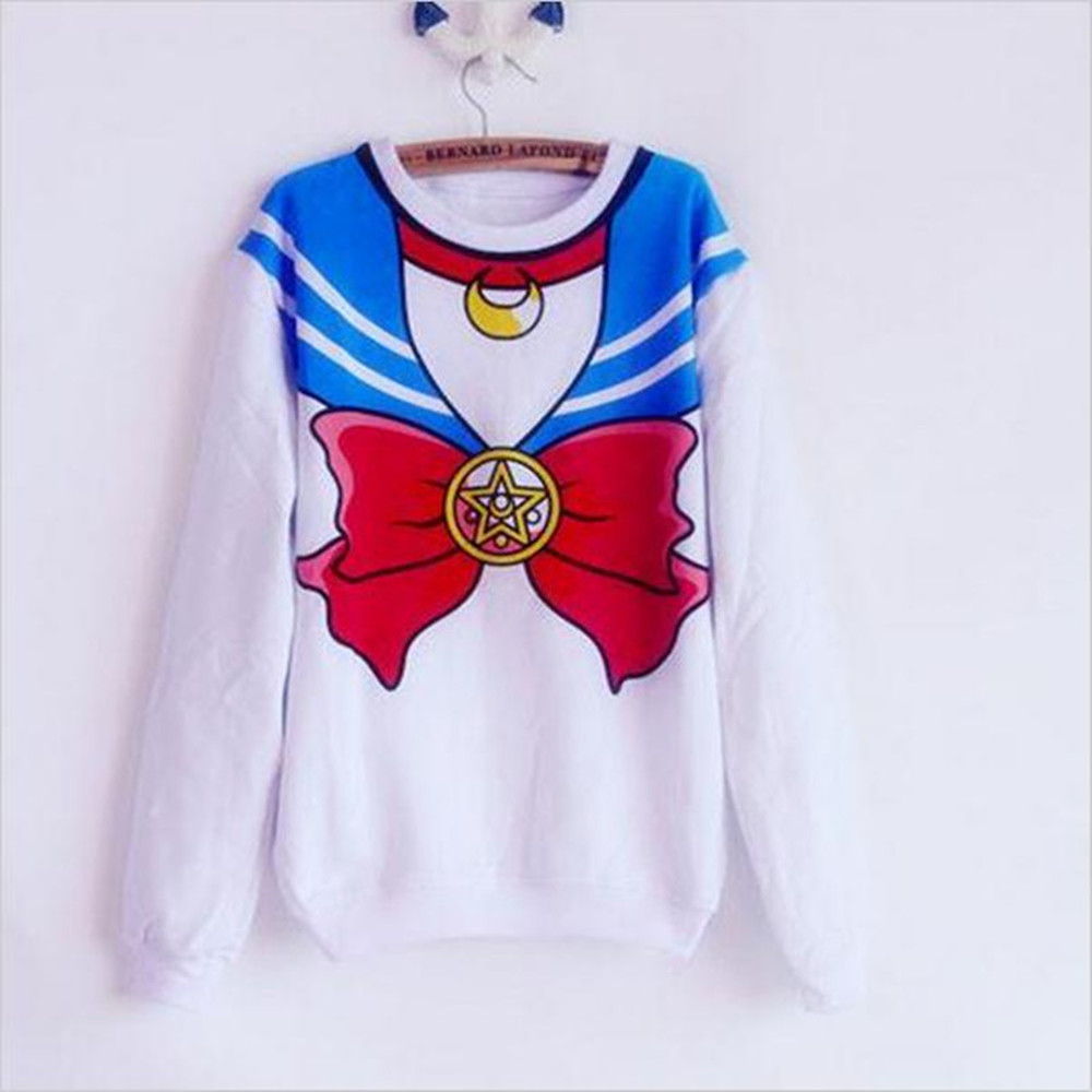 The New 2020 Sailor Moon Shirt Harajuku Kawaii Cute Fake Imitation Top Role-playing Sailor Costume Free Shipping SALMOPH
