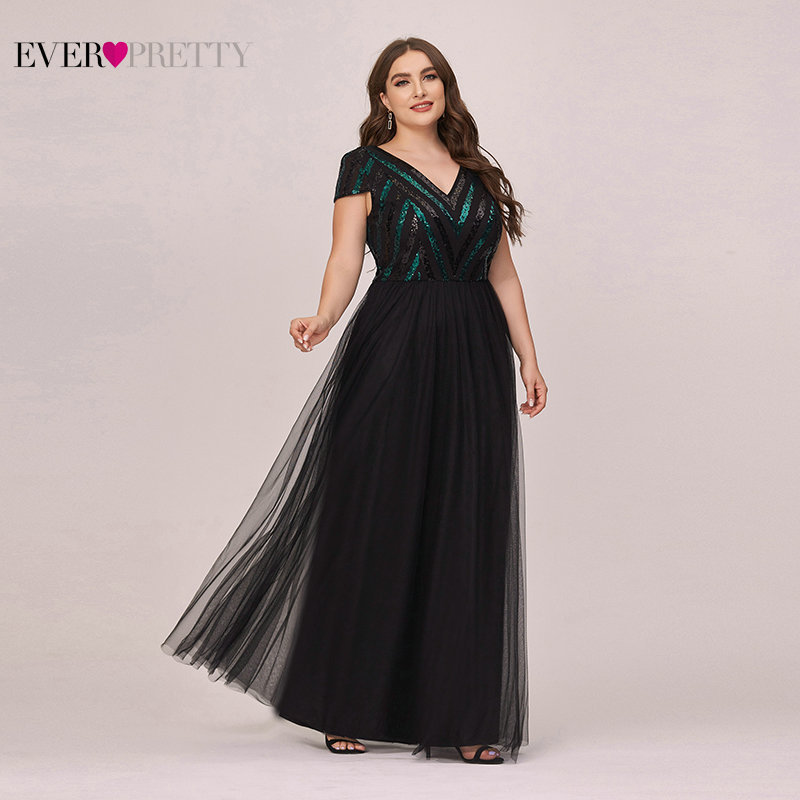 Plus Size Prom Dresses 2020 Ever Pretty Elegant A Line Sequined V Neck Long Black Dresses Woman Party Night Robe Longue Femme