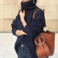 Korea Japan Style Turtleneck Sweater Woman Winter 2019 Autumn Female Pullover Knitted Pullover Jumper Simple Women Sweater Blue