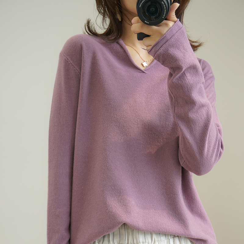 Loose Lazy V-neck Knitted Sweater Women Fall Winter Pullovers Plus Size Women's Wool Tops