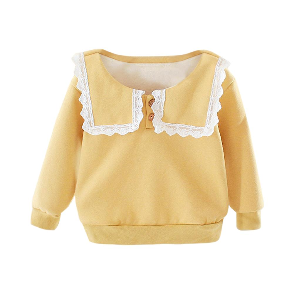 Baby Girl Kids Sweatershirt Cotton Warm Long-Sleeves Spring Korean Lovely Clothes Cotton Buttons Fleece Thicken Tops