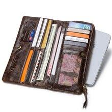Genuine Leather Wallet Men Coin Purse Clutch Male W