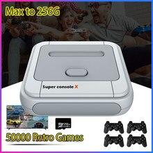 Super console x clássico retro console de jogos de vídeo emulador console mais novo jogador de jogo com 50000 jogos para psp/ps1/dc max a 256g