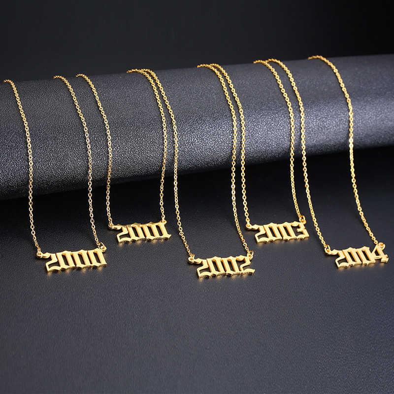 Vnox Rvs Geboorte Jaar Ketting Voor Vrouwen Gold Tone Choker Bff Verjaardag Anniversary Gift Verstelbare