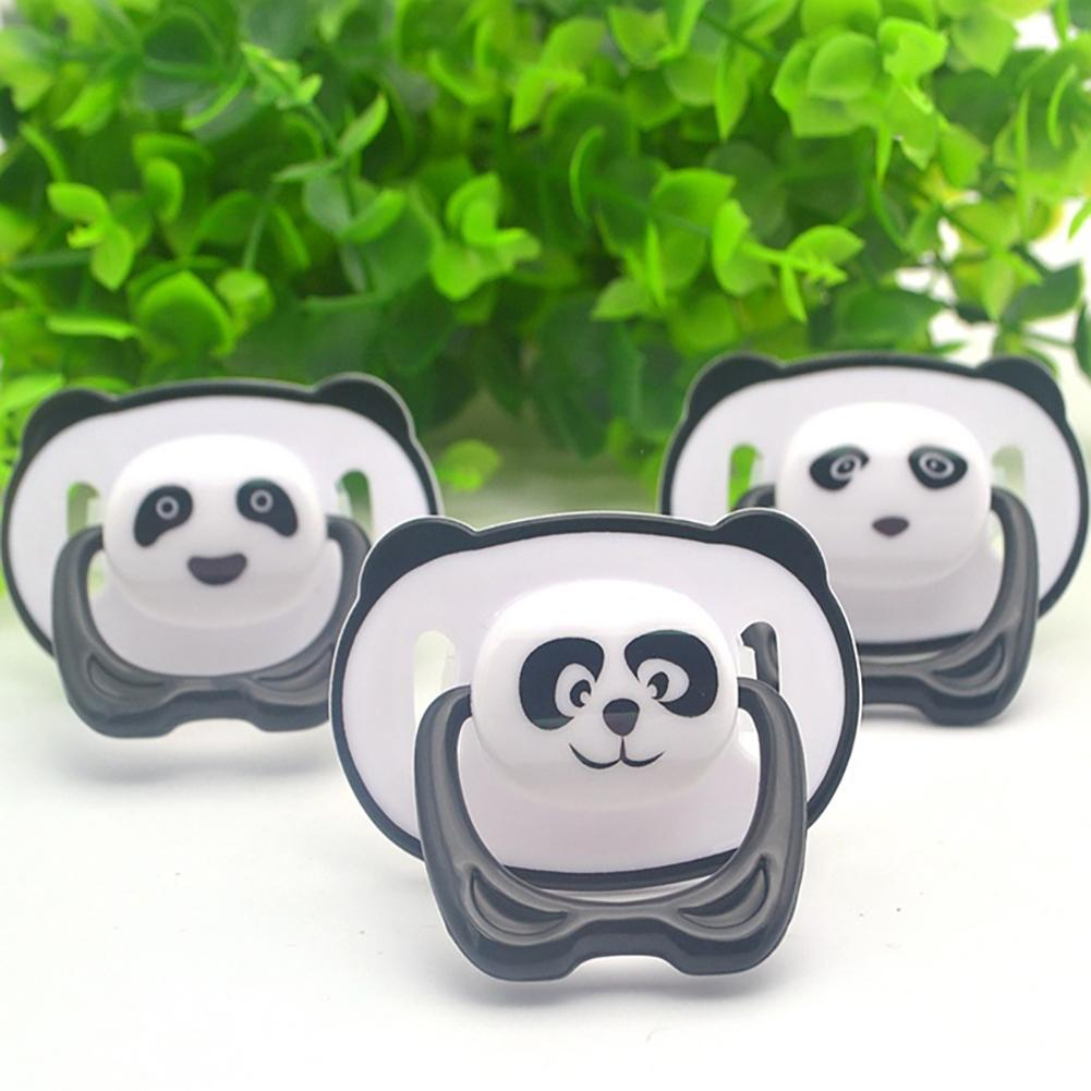 Newborn Baby Pacifier Cartoon Panda Baby Food Grade Silicone Orthodontic Pacifier Flat Round Head Soother Nipple