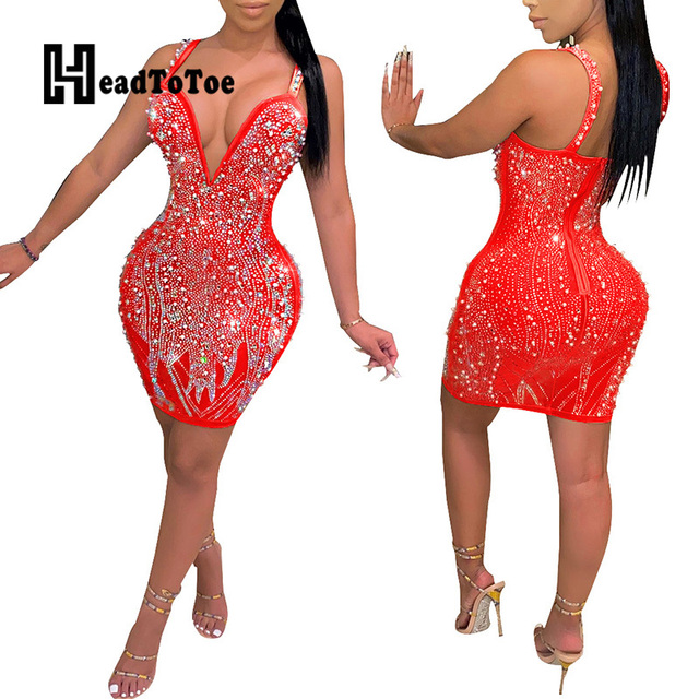 Sexy Backless V Neck Thick Strap Rhinestone Beading Party Dress Women Sleeveless Sheath Bodycon Club Dresses 5