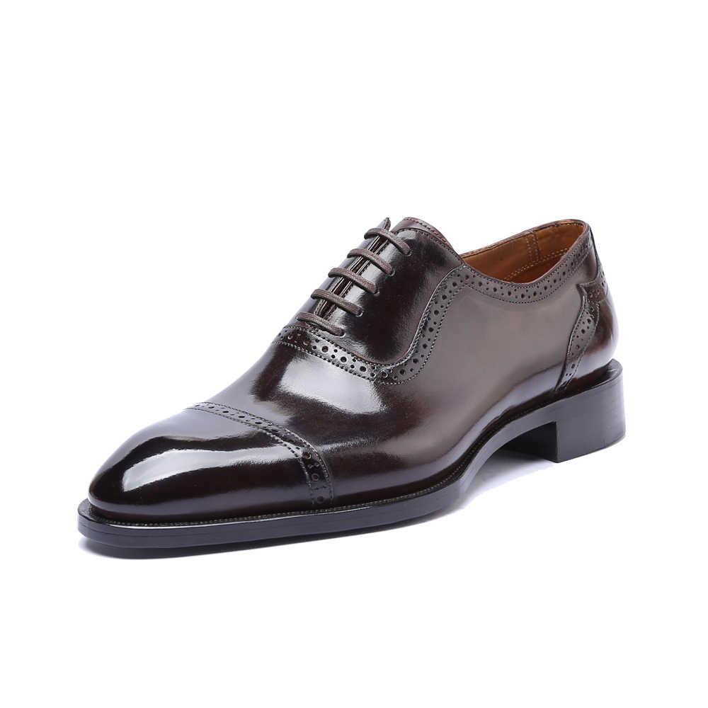 فستان أحذية الرجال جلد طبيعي Vintage الرجعية مخصص بليك اليدوية مكتب موضة الزفاف الرسمي أحذية أكسفورد