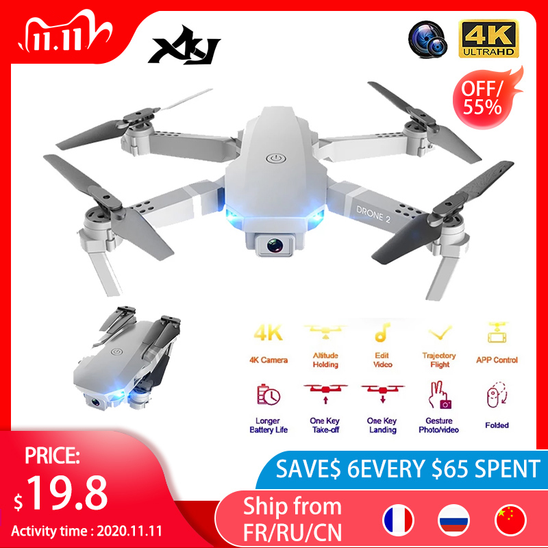 XKJ 2020 E68Pro Mini Drone 4K 1080P Wide Angle Camera Dron Wifi FPV Height Hold Mode RC Foldable Quadcopter Kid's Gift