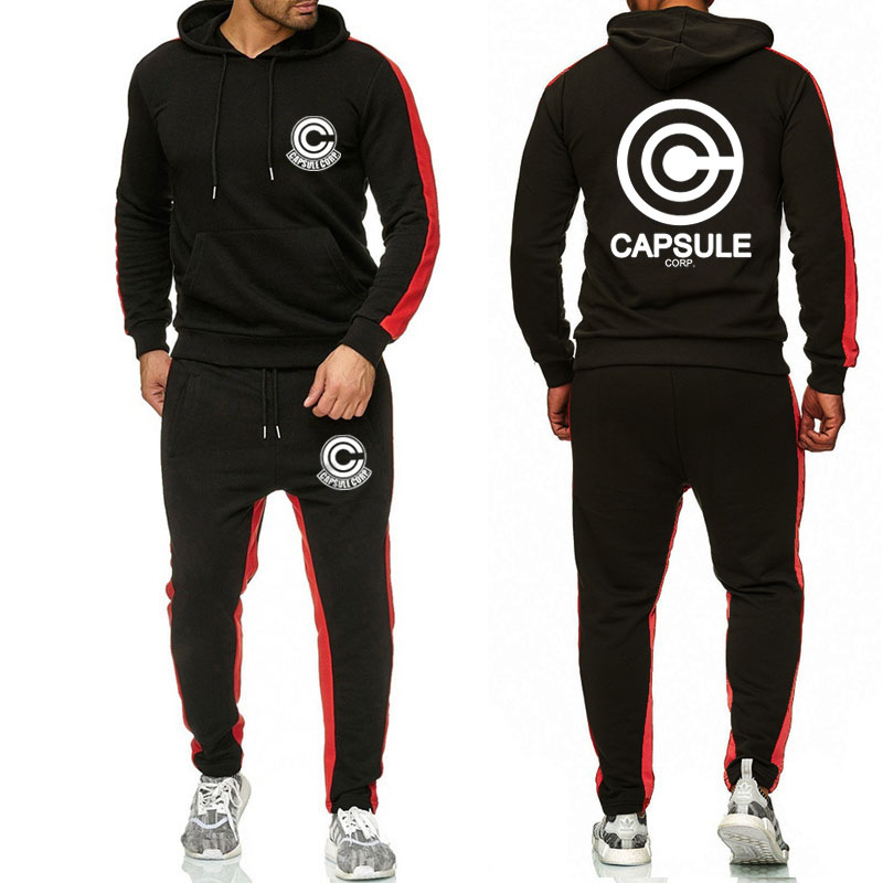 Tracksuit Men Jacket Letter Dragon-Ball Hoodie Pants Sportswear Anime Male Set With Large-Size