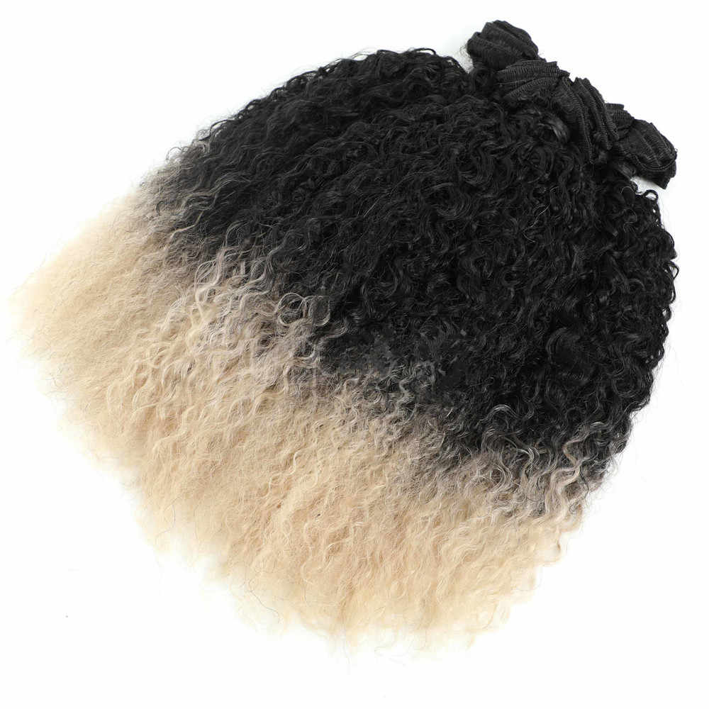 "Afro Kinky Curly Hair Extensions Ombre Color T613 Heat Resistant Fiber Synthetic Hair Weaves 16"" 3 Bundles All In One Pack 240g"