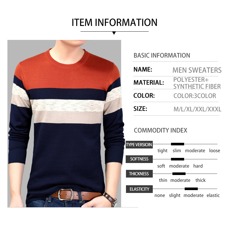 Men Casual Sweater Striped O-Neck Striped Slim Fit Cable Knit Sweater 2020 Fashion Autumn Mens Sweaters Pullovers Big Sizes