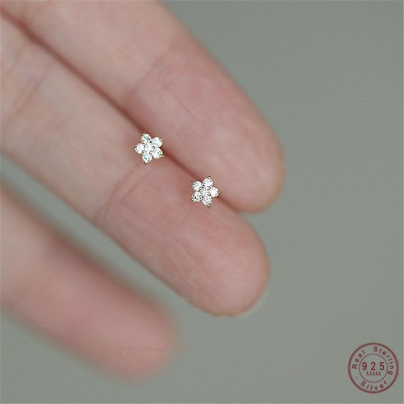 925 argent Sterling plaqué 14k or Pavé cristal cinq branches étoile boucles doreilles femmes Simple mode bijoux de mariage accessoires