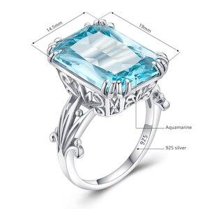 Image 5 - Szjinao Echt 925 Sterling Silber Aquamarin Ringe Für Frauen Sky Blue Topaz Ring Edelsteine Silber 925 Schmuck Weihnachten Geschenk