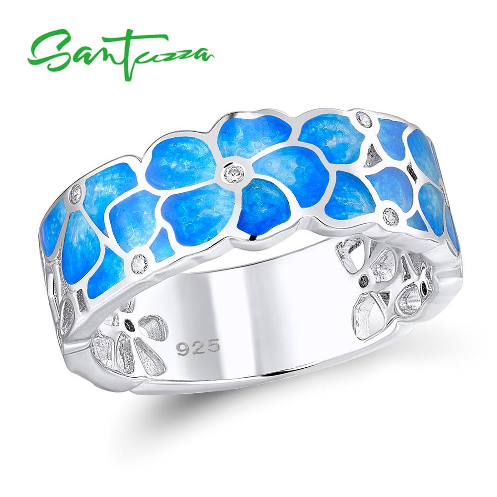 SANTUZZA Stříbrný prsten pro ženy 925 Sterling Silver Módní prsteny pro ženy Zlatá barva Cubic Zirconia Ringen Party Šperky Smalt