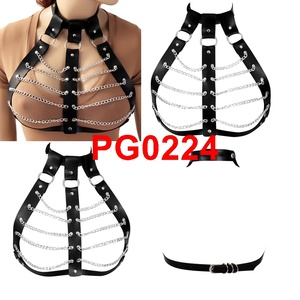 Image 5 - PU Leather Metal Chain Body Harness Cage Bra Lingerie Belt Fetish Sexy Punk Gothic Bondage Crop Tops Cosplay Wear for Women