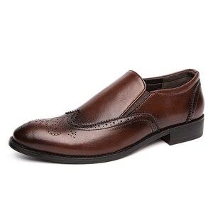 Image 3 - Chaussures de mariage pour hommes, chaussures de mariage en cuir paté de Style Brogue, chaussures Oxfords, formelles, collection 2020