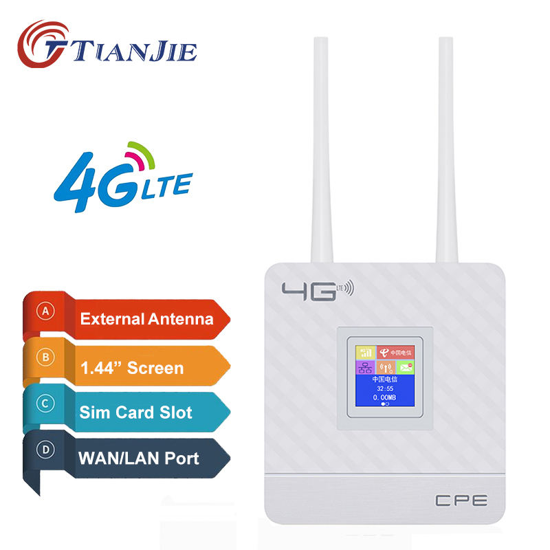 TIANJIE 4G wifi Router CPE dual antennas Unlocked 4g modem wifi router Wireless Modem SIM Card