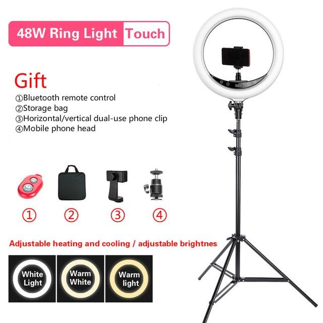 "Beiyang 240C 14 ""調光可能な写真撮影の光 led リングライト 3 色 3200 5600 18k 240 led リング用電話フォトスタジオ"