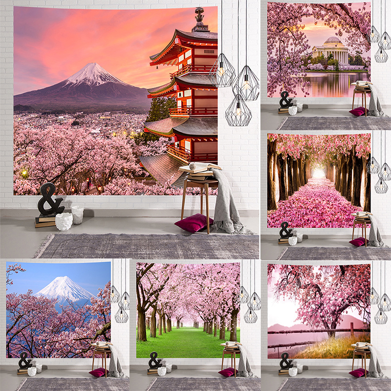 Image 2 - Mandala Indian Tapestry Wall Hanging Romantic Cherry Blossoms  Misty Mountain Bohemian Yoga Mat Home Bedroom Art CarpetTapestry   -