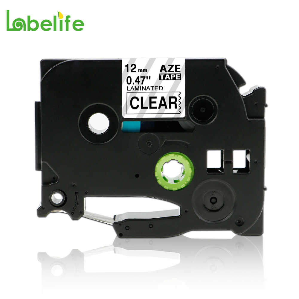 """Black on Clear Label Tape Compatible With Brother Tze-131 12mm .47/"""" X 26/' TZ-131"""