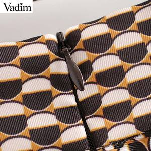 Image 4 - Vadim נשים שיק הדפסת midi חצאית חגורת עיצוב חזרה רוכסן משרד ללבוש נשי מזדמן אופנה בסיסית אמצע עגל חצאית BA840