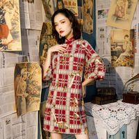 Sheng Coco Loose Modern Cheongsam Red Lattice Retro Short Qipao Deerskin Mini Qipao Gowns Oriental Women Party Everyday Dresses