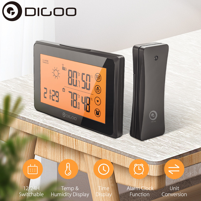 DIGOO DG-TH0340 LCD Digital Temperature Humidity Meter Home Indoor Outdoor Hygrometer Thermometer Weather Station with Clock
