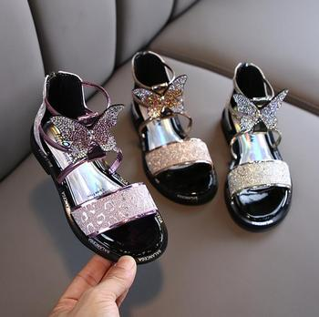 Little Girls Gladiator Sandals Boots Leather Summer Butterfly High-top Fashion Roman Kid Sandals Toddler Baby Princess Sandals