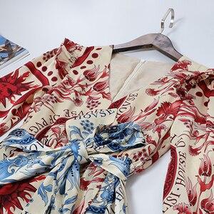 Image 3 - AELESEEN High Street Design Contrast Color Runway Print A Line Dresses Women Elegant Ruffles Shoulder Sashes Floral Long Dress
