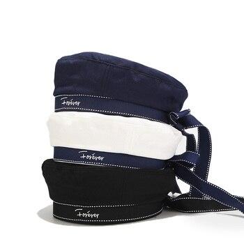 Sombrero de mujer con Lazo de cinta, Boina Bordado de letras, gorros de invierno, Boina Vintage, sombrero francés, azul marino, 2020