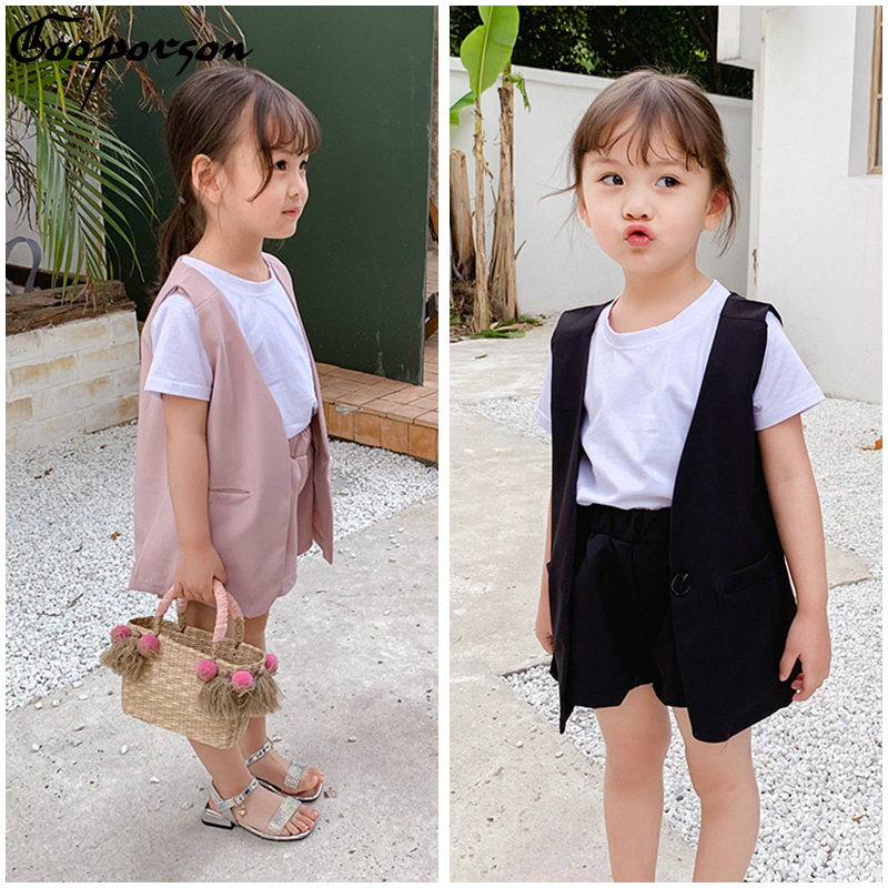 2019 New Brand Toddler Girl's 3 Pcs Clothes Set Summer Vest +short Sleeve T Shirt + Pants Kids Clothing Suit Cool Outfits