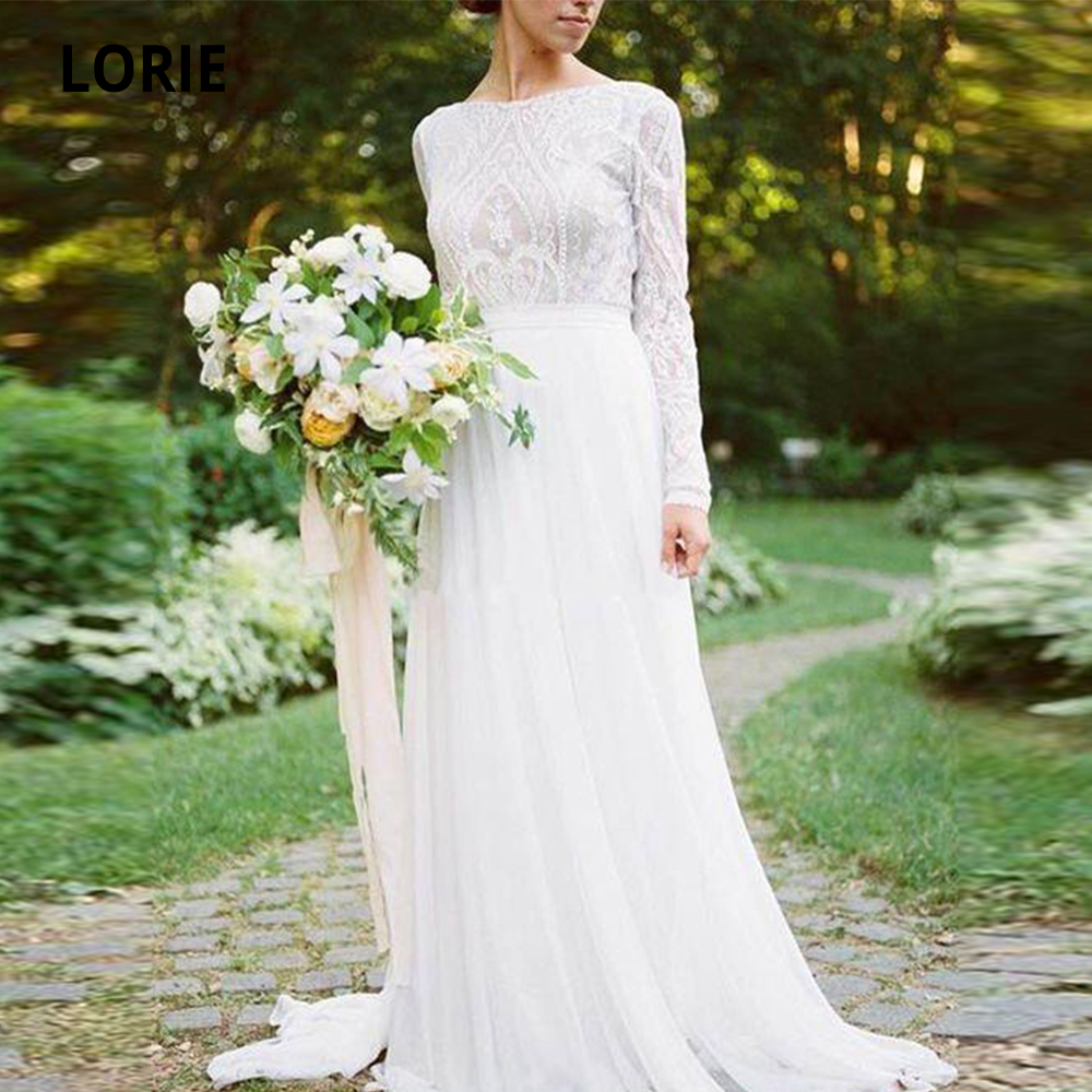 LORIE Bohemian Country Long Sleeves Wedding Dresses Boho 2019 O-neck A Line Lace Appliqued Chiffon Beach Bridal Gowns Cheap
