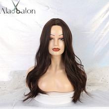 ALAN EATON Long Wavy Synthetic Wigs For Women Middle Part Br