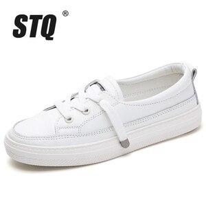 Image 2 - STQ Outono Mulheres Apartamentos Sapatilhas Sapatos Das Senhoras Lace up Sapatos Casuais PU Sapatos de Couro Mulheres Sapatos Casuais Sapatos Brancos Tênis 768