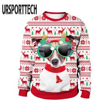 Unisex brzydki świąteczny sweter 3D drukuj śmieszne wycięcie pod szyją bluzy na boże narodzenie Party męskie swetry swetry świąteczne swetry swetry tanie i dobre opinie URSPORTTECH CN (pochodzenie) ugly christmas sweater MS23013 Na co dzień Poliester spandex Komputery dzianiny O-neck Pełna
