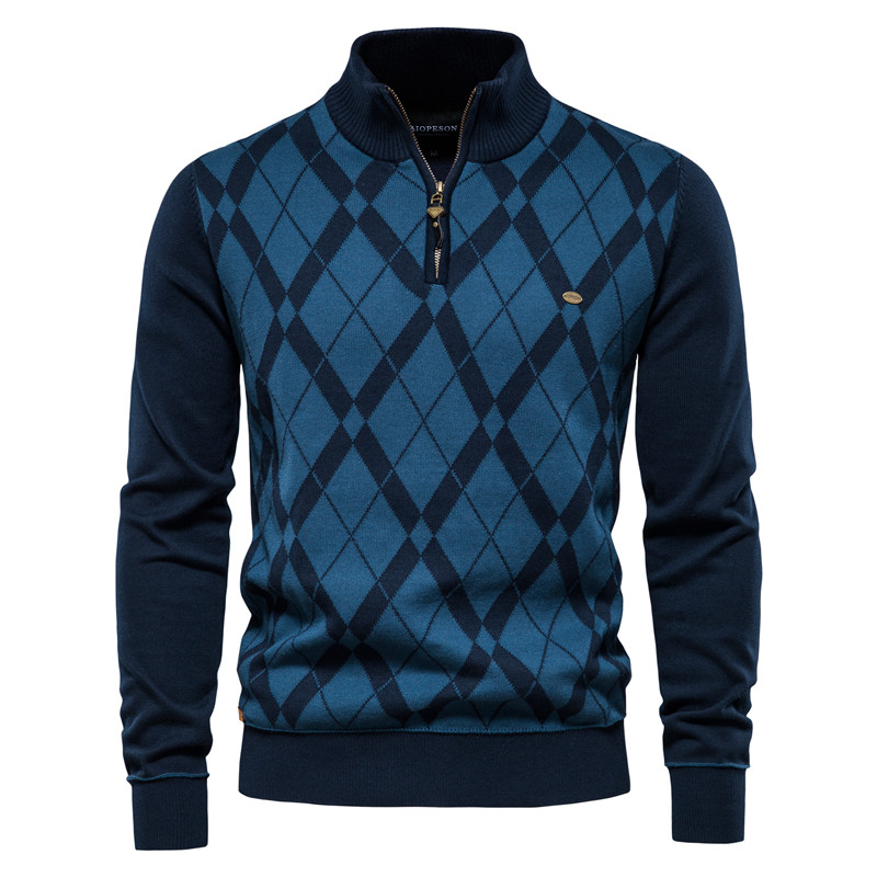 AIOPESON Brand Argyle Pullovers Sweater Men Casual Zipper Mock Neck Cotton Sweater for Men New Winter Fashion Warm Mens Sweaters
