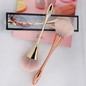 Large Rose Gold Foundation Powder Blush Brush Professional Make Up Brush Tool Set Cosmetic Very Soft Big Size Face Makeup Brushe недорого