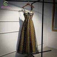 SSYFashion New Black Gold Evening Dress Sexy V neck Sleeveless Floor length Star Pattern Long Formal Gown Vestidos De Noche