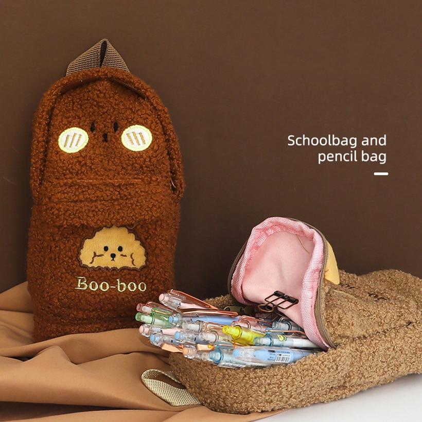 Pencil Case Pen Cases Kawaii bag Material Escolar Estojo Cute School Supplies Korean Stationery Big Plush Bear Girl Trousse etui