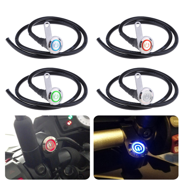 12V Motorcycle Light Switch LED Handlebar Headlight Foglight On/Off Switch 3 Wire LED Push Button For ATV Scooter Quad Motorbike