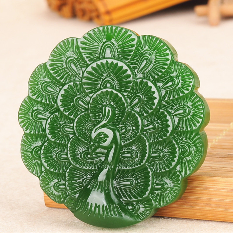 Carved Peacock Jade Pendant Natural Chinese Green Beads Necklace Charm Jadeite Jewellery Fashion  Lucky Man Woman Amulet Gifts